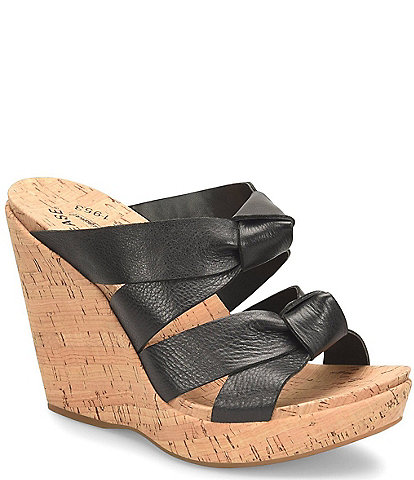 Kork-Ease Sammi Leather Knot Cork Platform Wedge Slide Sandals