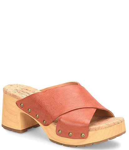 Kork-Ease Tatum Leather Wood Heel Platform Slide Sandals