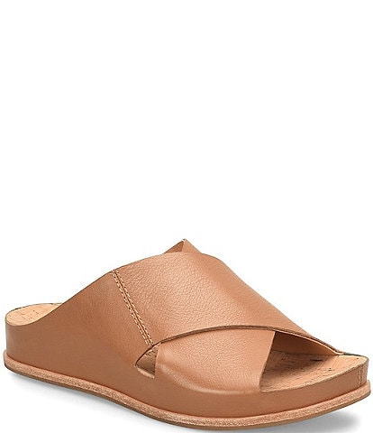 Kork-Ease Tutsi Cross Band Leather Slide Sandals