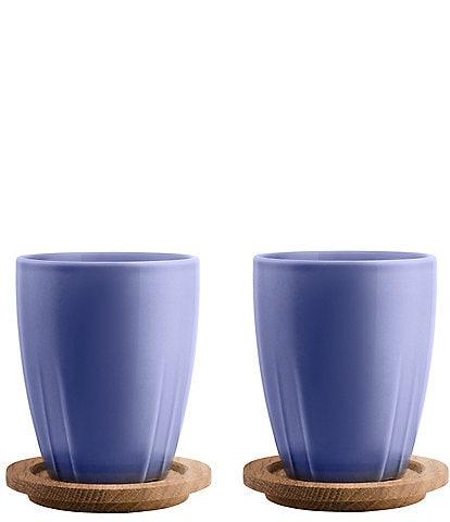 Kosta Boda Bruk Mug Set With Oak Lid