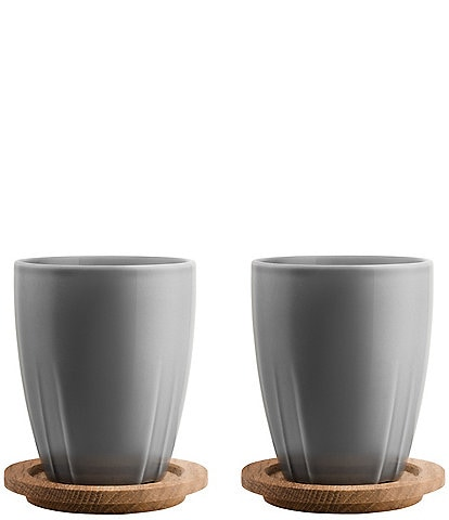 Kosta Boda Bruk Mug Set With Oak Lid