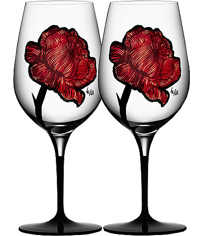 Kosta Boda Rose Tattoo Wine Glass, Set of 2