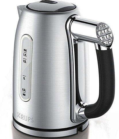 Krups Cool-touch Stainless Steel Electric Kettle with Adjustable Temperature, 1.7-Liter