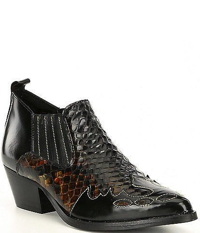 Kurt Geiger Dillan Snake Print Leather Western Booties