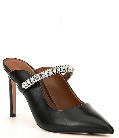 Kurt Geiger Duke Leather Jewel Strap Dress Mules