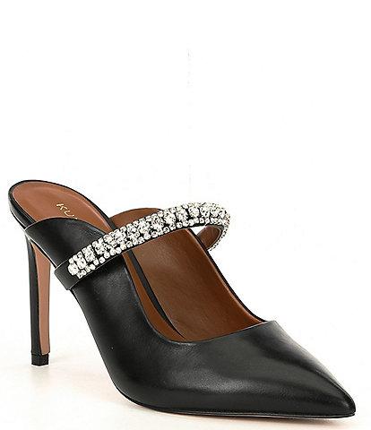 Kurt Geiger Duke Leather Jewel Strap Dress Mules