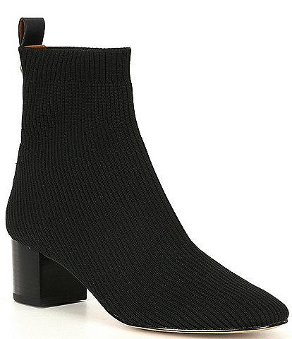 Kurt Geiger London Elmer Stretch Fabric Block Heel Sock Booties
