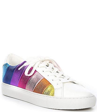 Kurt Geiger London Lane Metallic Rainbow Stripe Lace-Up Sneakers