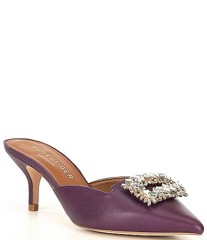 Kurt Geiger London Pia Leather Gemstone Ornament Dress Mules