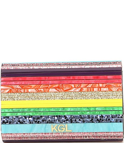 Kurt Geiger London Party Multi Stripe Rainbow Glitter Envelope Clutch