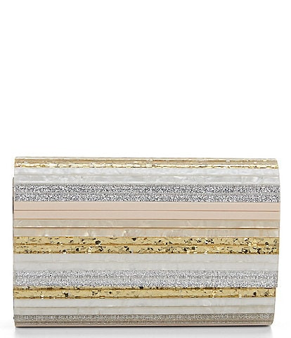 Kurt Geiger London Party Resin Stripe Glitter Envelope Clutch