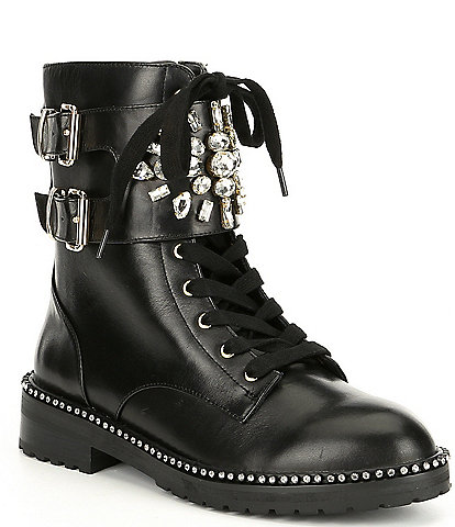 Kurt Geiger Stoop Brooch & Buckle Embellished Leather Combat Boots