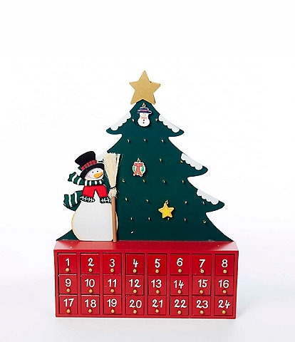 Kurt S. Adler Wooden Snowman with Christmas Tree Advent Calendar