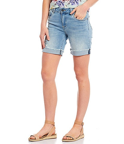 KUT from the Kloth Catherine Destruction Detail Rolled Up Boyfriend Shorts