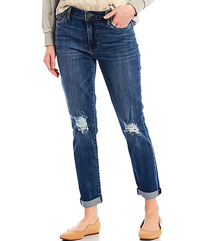 KUT from the Kloth Catherine High Rise Roll-Up Cuff Destruction Detail Boyfriend Jeans