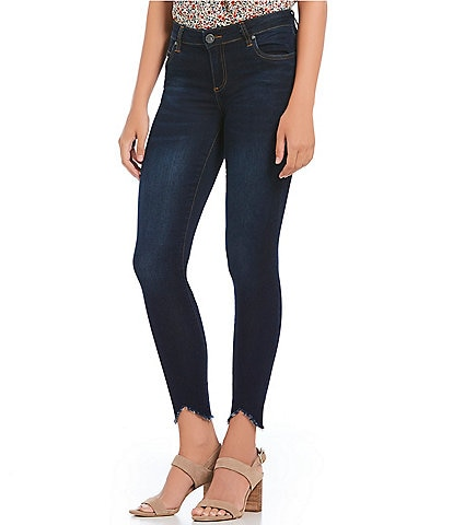KUT from the Kloth Connie Ankle Step Frayed Hem Skinny Jeans