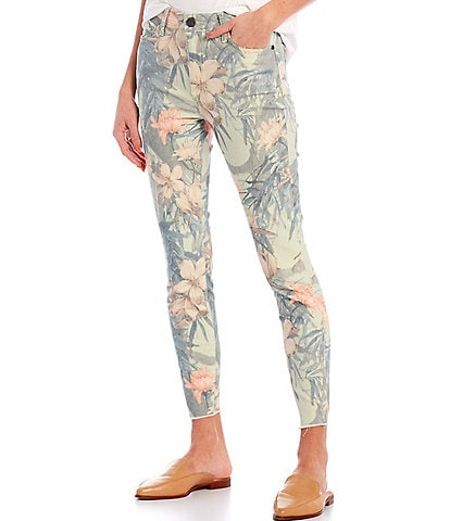 KUT from the Kloth Donna Floral Print High Rise Raw Hem Skinny Ankle Jeans