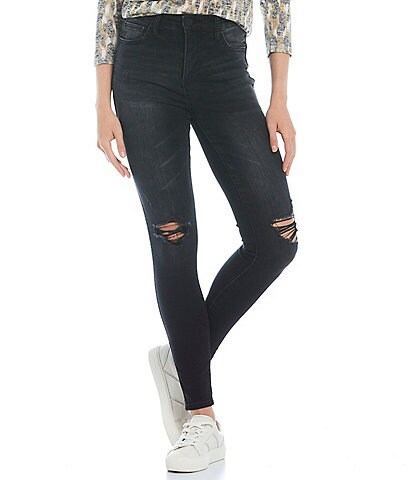 KUT from the Kloth Fab Ab Fit Technique High Rise Destruction Detail Toothpick Mia Skinny Jeans