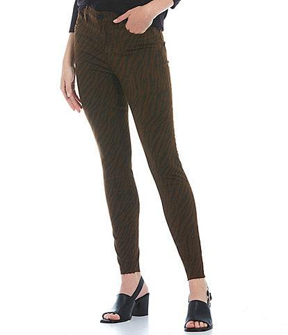KUT from the Kloth Fab Ab Fit Technique High Rise Raw Hem Zebra Print Mia Skinny Jeans