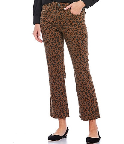 KUT from the Kloth Kelsey Cheetah Print High Rise Ankle Raw Hem Flared Jeans