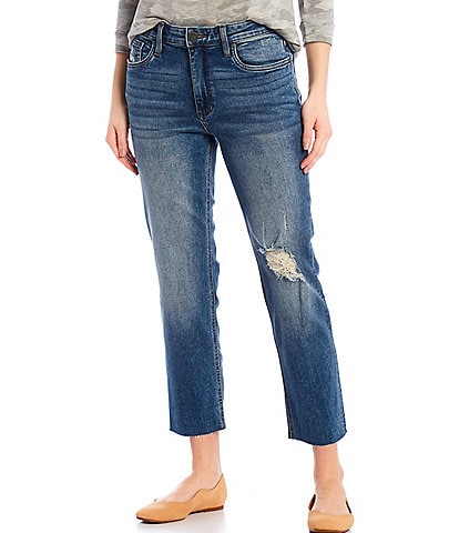 KUT from the Kloth Rachel Mom Destruction Detail Raw Hem Crop Jeans