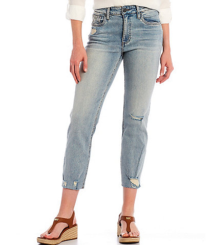KUT from the Kloth Rachel Mom Destruction Detail Straight Leg Raw Hem Ankle Jeans