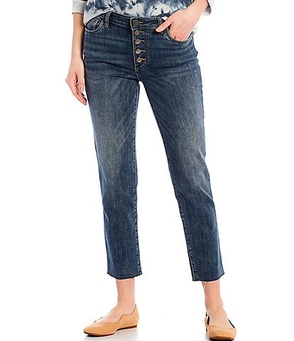 KUT from the Kloth Reese High Rise Exposed Button Fly Straight Leg Raw Hem Ankle Jeans