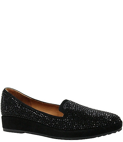 L'Amour Des Pieds Correze Suede Rhinestone-Embellished Slip-Ons