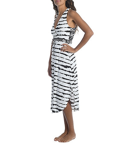 La Blanca Elemental Balance Midi Tie Dye Stripe Swim Cover Up Dress