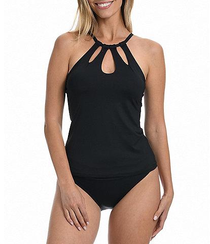 La Blanca Island Goddess Keyhole High Neck Underwire Tummy Control Tankini Swim Top & Shirred Banded Hipster Swim Bottom