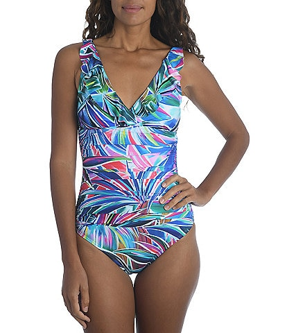 La Blanca Palm Opulence Underwire Ruffle Surplice One Piece Swimsuit
