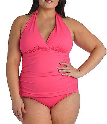 La Blanca Plus Size Island Goddess Halterkini Swim Top & High Waist Swimsuit Bottom