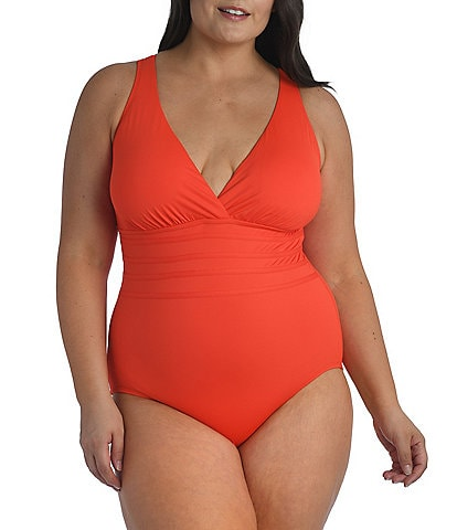 La Blanca Plus Size Island Goddess Multi Strap Cross Back Tummy Control V-Neck One Piece Swimsuit