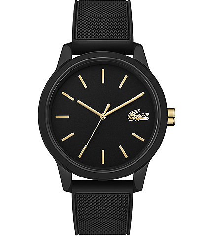 Lacoste 12.12 Black/Gold Rubber Strap Watch