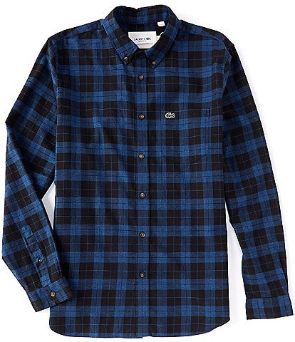 Lacoste Checked Plaid Twill Long-Sleeve Woven Shirt