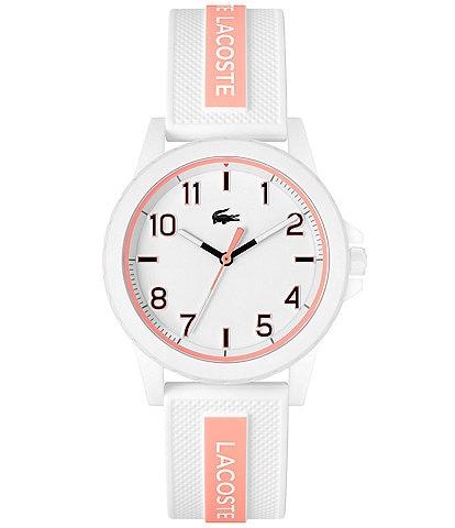 Lacoste Kids' Rider White & Peach Silicone Strap Watch
