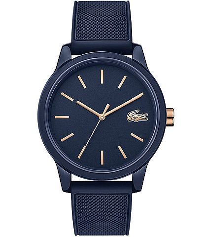 Lacoste Men's 12.12 Blue/Rose Gold Rubber Strap Watch