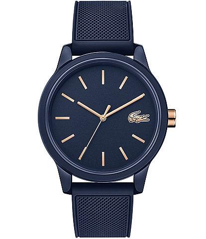 Lacoste Men's 12.12 Blue/Rose Gold Rubber Strap Watch