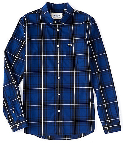 Lacoste Slim-Fit Plaid Stretch Long-Sleeve Woven Shirt