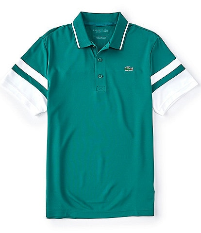 Lacoste Sport Striped Sleeves Performance Short-Sleeve Polo Shirt