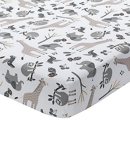 Lambs & Ivy Baby Jungle Animals Cotton Fitted Crib Sheet