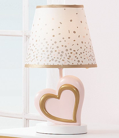 Lambs & Ivy Confetti Pink & Metallic Gold Heart Lamp with Shade & Bulb