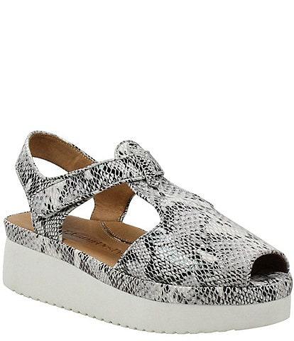 L'Amour Des Pieds Almika Snake Print T-Strap Flatform Sandals