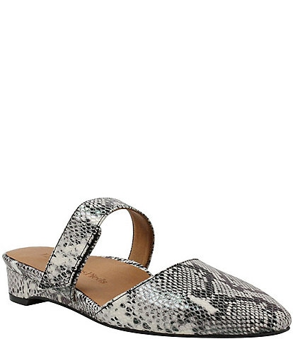L'Amour Des Pieds Baruk Snake Print Leather Mules