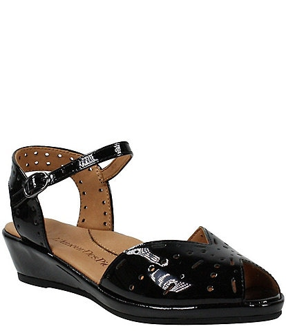 L'Amour Des Pieds Brenn Perforated Patent Leather Sandals