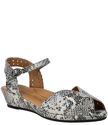 L'amour Des Pieds Brenn Perforated Snake Print Leather Sandals