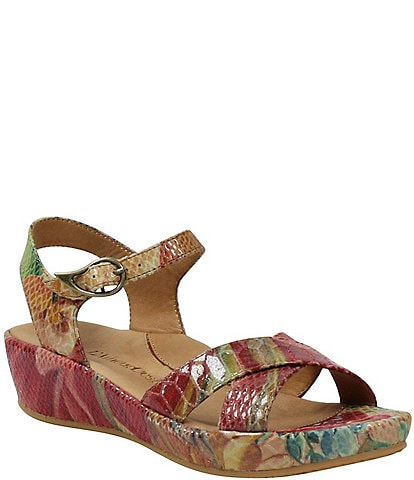 L'amour Des Pieds Casimiro Floral Snake Print Leather Sandals