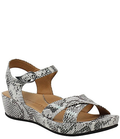 L'amour Des Pieds Casimiro Snake Print Leather Sandals