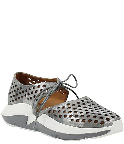L'amour Des Pieds Himar Perforated Metallic Leather Sneaker