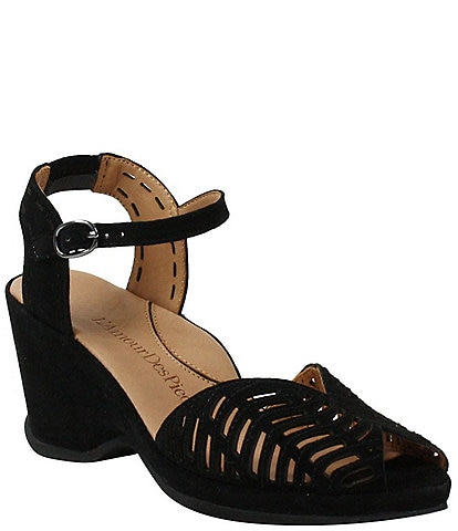 L'Amour Des Pieds Oanez Cut Out Suede Wedge Sandals